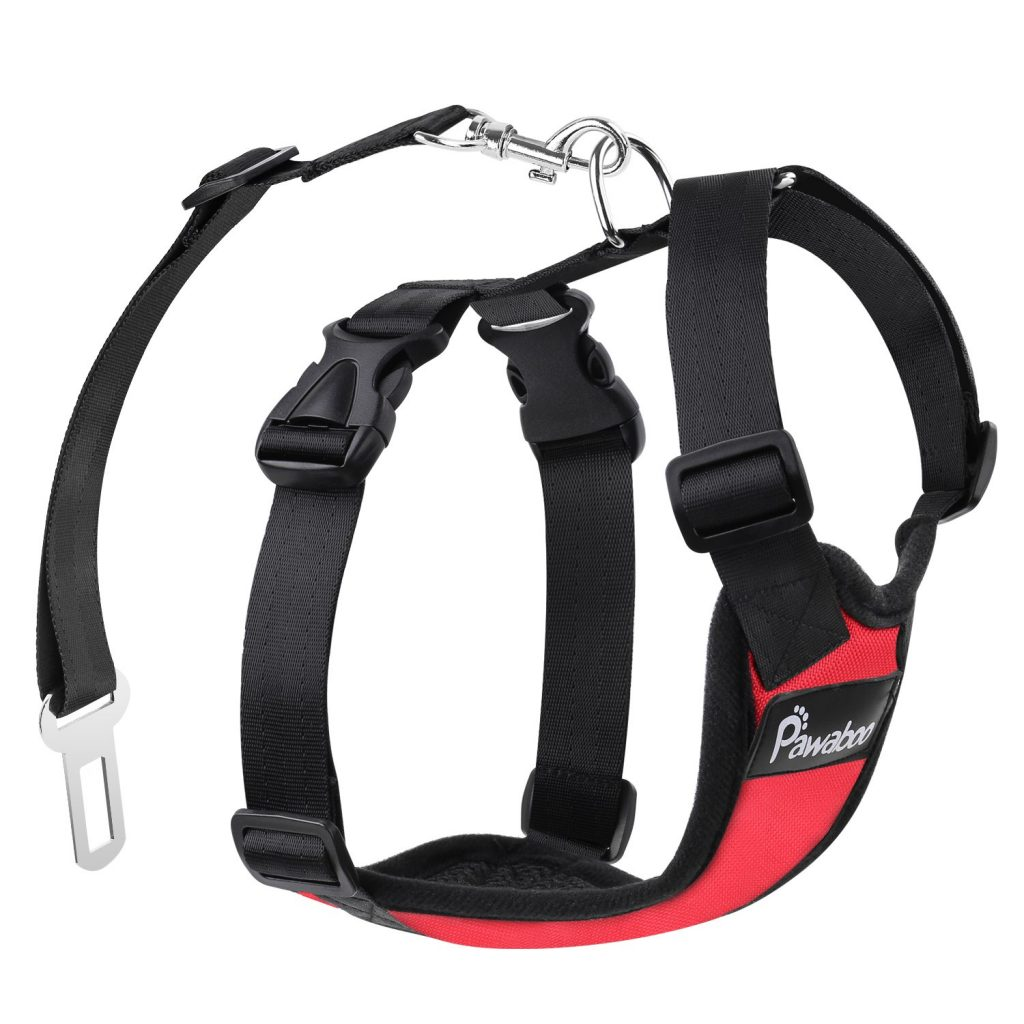 PAWABOO Dog Safety Vest Harness Dog Adjustable Car Safety