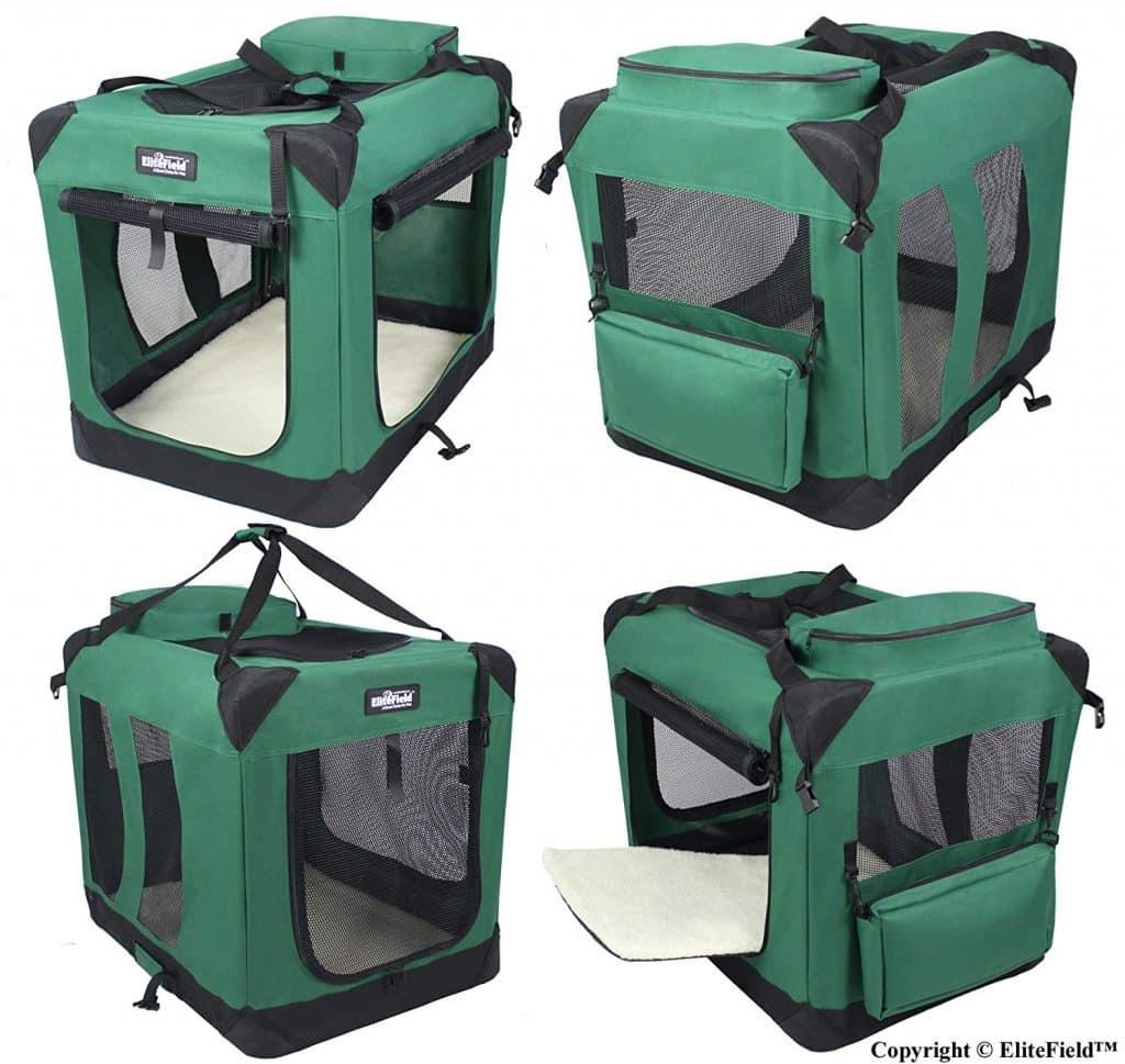 EliteField 3-Door Folding Soft Dog Crate Indoor & Outdoor Pet Home