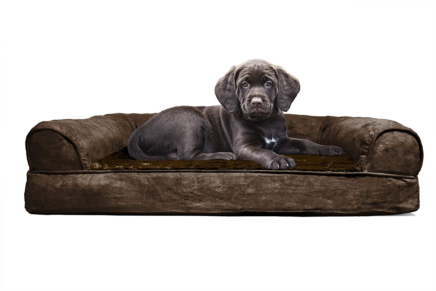 FurHaven Pet Dog Bed Orthopedic Plush and Suede Sofa-Style
