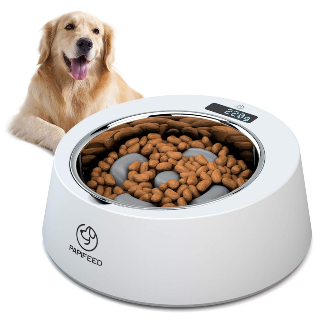 PAPIFEED Slow Feed Dog Bowl Multifunctional Digital Scale Pet Feeder,