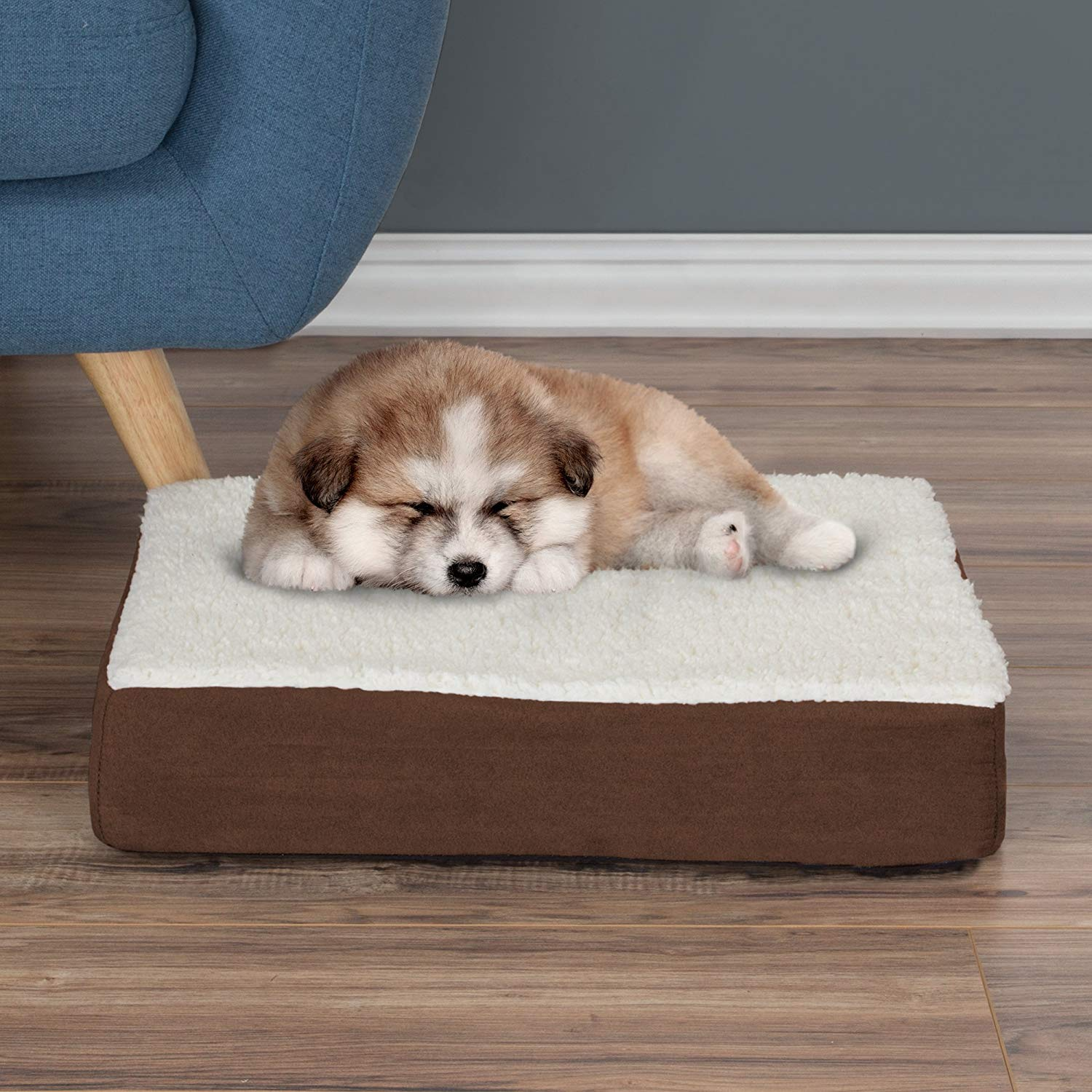 petmaker Orthopedic Sherpa Top dog Bed with Memory Foam and Removable Cover